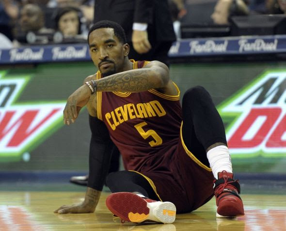 Oct 28, 2015; Memphis, TN, USA; Cleveland Cavaliers guard J.R. Smith (5) reacts during the first quarter of the game at FedExForum. Mandatory Credit: Justin Ford-USA TODAY Sports