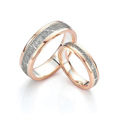 White and Rose Gold Wedding Rings for Bride and Groom