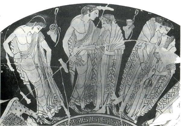 Exterior deuna copa ática de figuras rojas de Peithinos