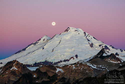 Mount Baker, Moon Set, North Cascades, Washington