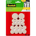 Scotch Felt Pads Round Beige Assorted Sizes 36 Pads/Pack SP842-NA