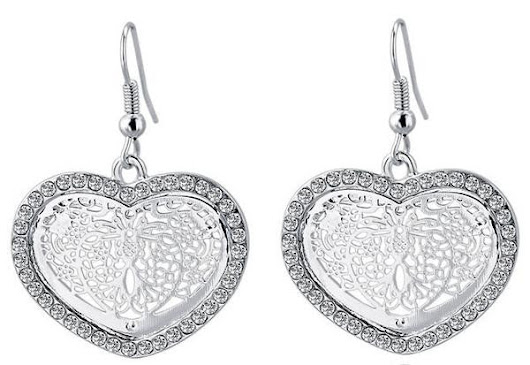 Devine Earrings - Silver Crystal Hart