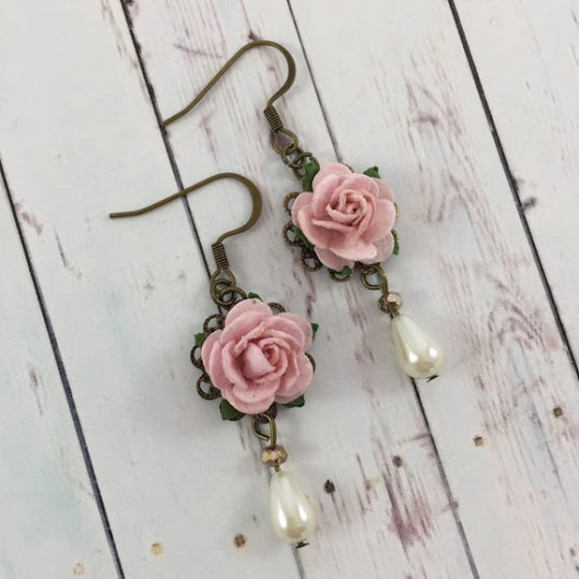 Flower and Pearl Earrings with Pastel Pink by MonicaRudyJewelry