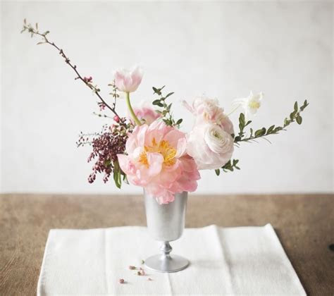 Pink peony table bouquet by Linger Flowers   Cincinnati