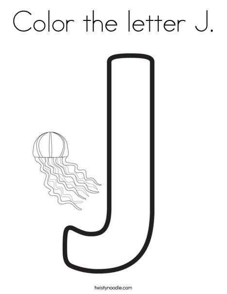 Color the letter J Coloring Page - Twisty Noodle
