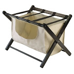 Pemberly Row Luggage Rack with Fabric Basket in Espresso - PR-530067