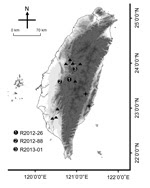 Thumbnail of Collection sites of rabies-positive Taiwan ferret badgers (TWFB), Taiwan. Solid circles marked with 1–3 represent the collection sites of the first 3 rabies-positive animals. Triangles represent the collection sites of other rabies virus (RABV) sequences included in this study. Crosses represent the most diverged lineages of rabies virus from Taiwan ferret badgers (TWFB, TW1614, and TW1955), shown in Figure 5, panel B, Appendix, and the easternmost cross represents the isolate from