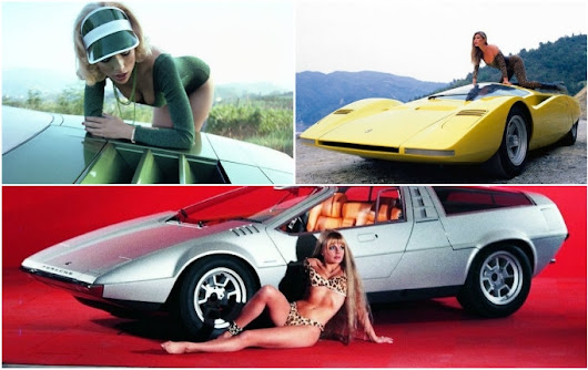 Vintage photos of space-age concept cars paired with hot chicks from the 60s and 70s