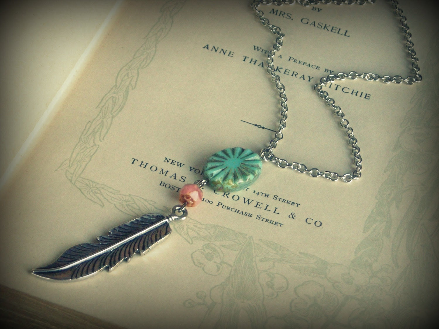 Pocahontas No.2 ... necklace feather oxidized silver turquoise pink starburst native american indian gypsy boho chic - DawningLightDesigns