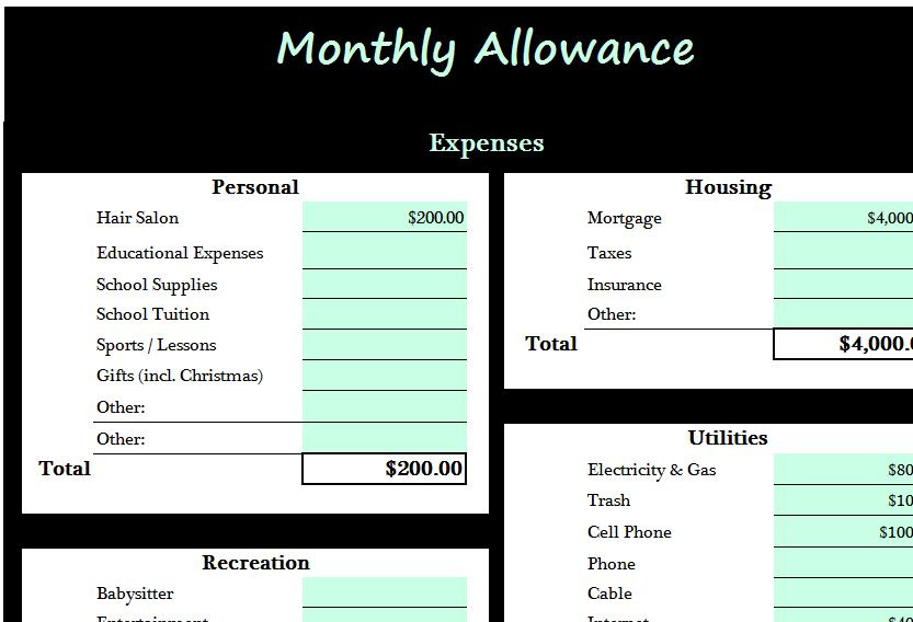 monthly allowance template