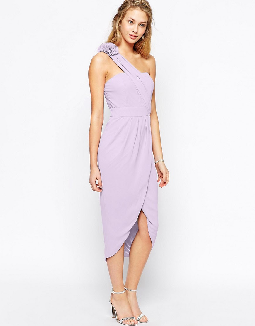 Image 1 of TFNC One Shoulder Pencil Dress With Wrap Skirt And Corsage Detail