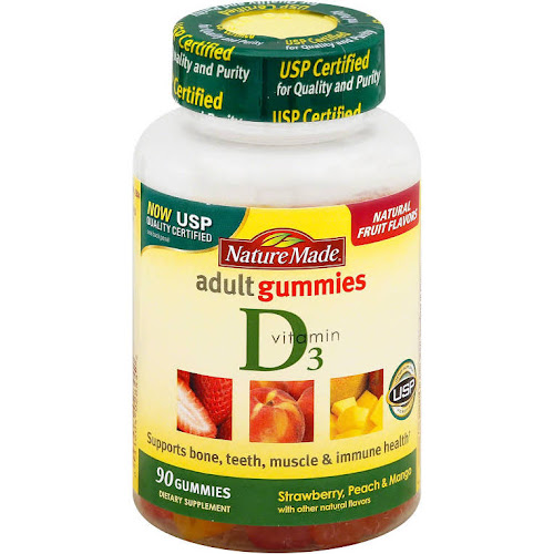 Nature Made Vitamin D3 Adult Gummies, Strawberry, Peach, Mango - 90 count