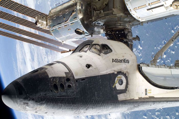 Space shuttle ATLANTIS is docked to the ISS on May 17, 2010.