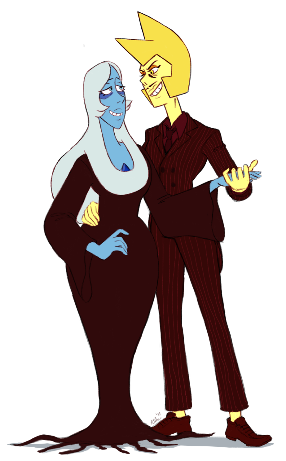 Not inktober but a little something on the side, Yellow and Blue as Gomez and Morticia Addams. Blue's dress had always given me Morticia vibes.
