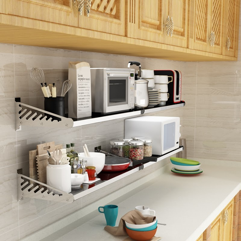 Awesome Wall Mounted Kitchen Steel Rack Design Photos