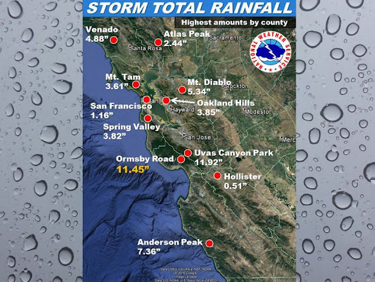 LIST: San Mateo County Rainfall Totals From Storm