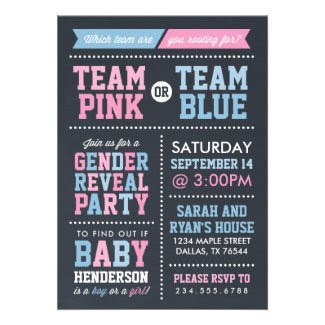 Team Pink or Team Blue Chalkboard Gender Reveal Invite