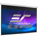 "Elite Screens M100HSR-PRO 100"" Manual Pull Down Projection Screen with Slow Retraction"