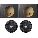 """2) Rockford Fosgate R2SD4-10 10"""" 800W Car Shallow Subs + 2) Single Sealed Boxes by VM Express"""