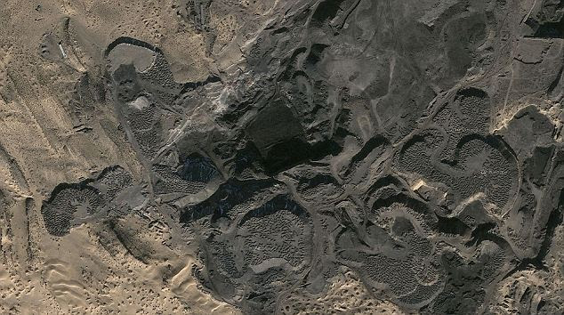The excavation site: Researchers made the discovery on the northern Helanshan Mountains of Inner Mongolia, five miles west of Wuda