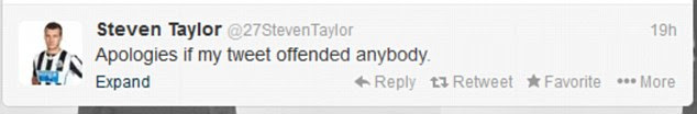 Apology: Steven Taylor deleted the offensive tweet and sent an apology soon after