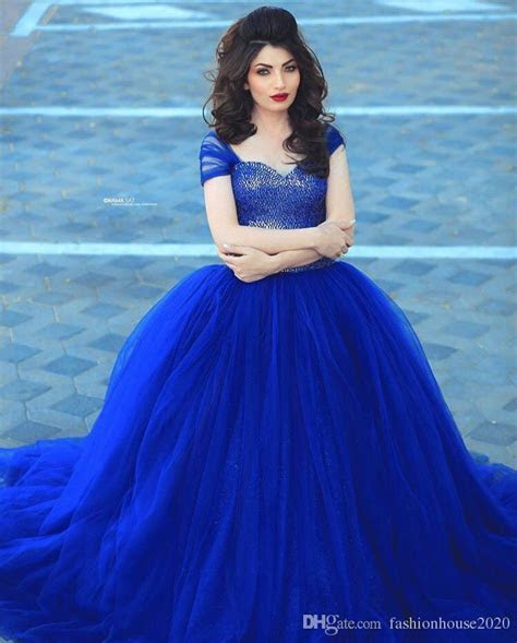 Arabic Design Royal Blue Puffy Wedding Dresses Cap Sleeve