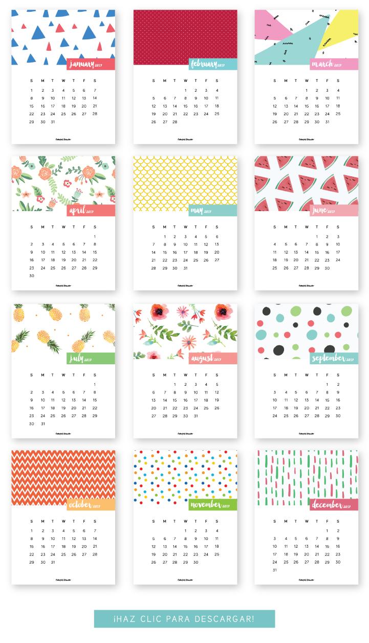 FREE printable Calendar 2017 Follow me @prodanbenoli for more pins ...