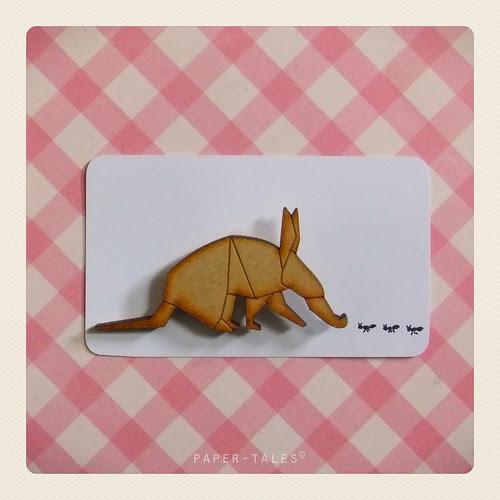 aardvark origami brooch