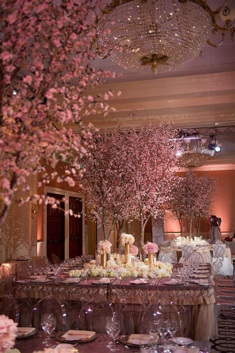 Silk Cherry Blossom trees. Centerpiece for wedding