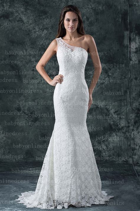 2014 Real Made One Shoulder Mermaid Lace Wedding Dresses