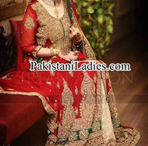 Latest Bridal Lehenga in Red and Green Combination 2014