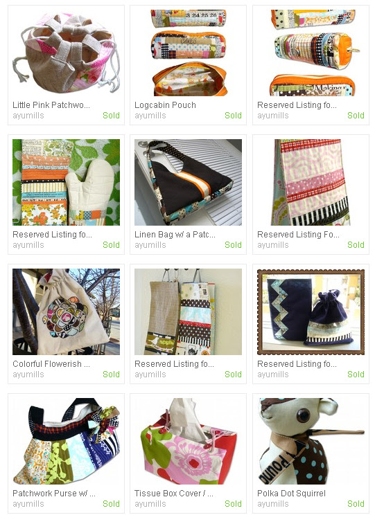 Things I've sold in my etsy shop