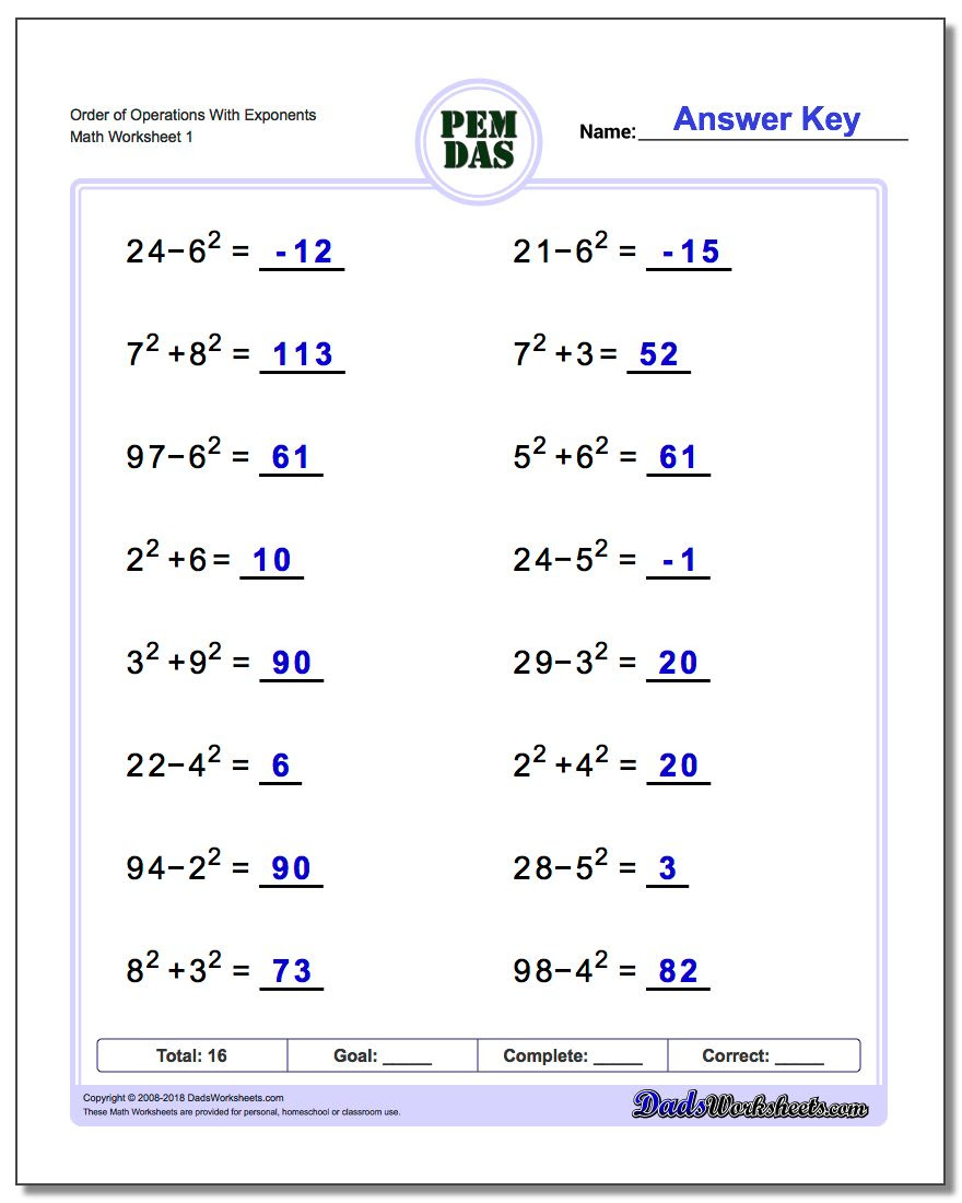 order of operations with exponents v1