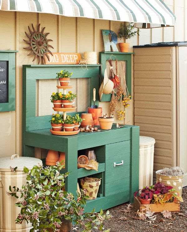 10 Potting Bench Ideas with Free Building Plans - Tuesday {ten