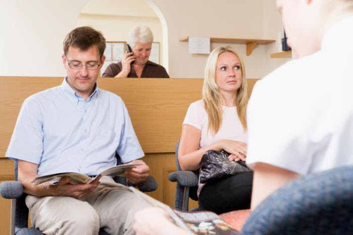 Patients in a waiting room.
