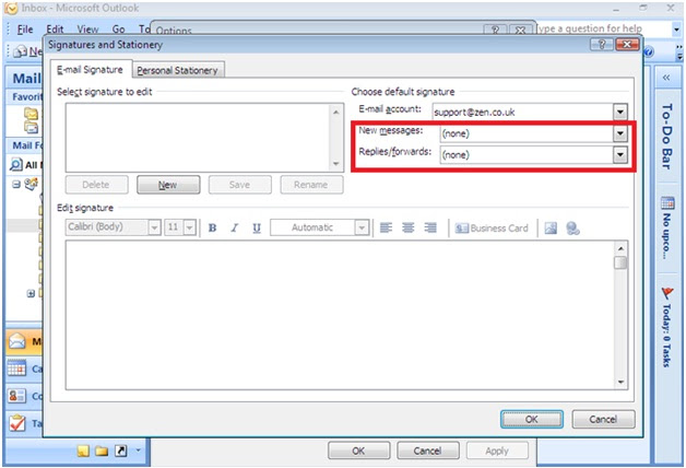 how to change default signature in windows live mail