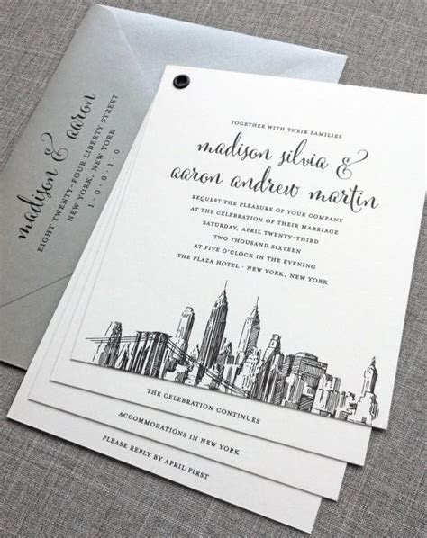 Madison Booklet New York Skyline Wedding Invitation Sample