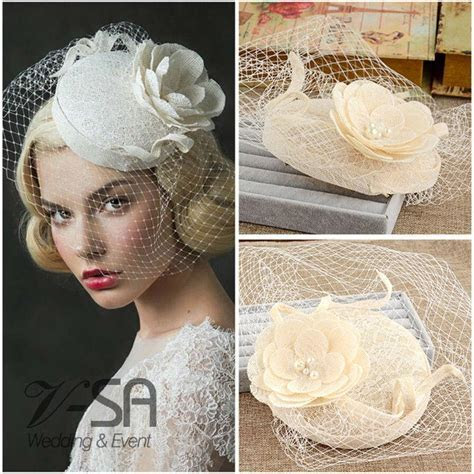 Uk Vintage Style Princess Bridal Hats Linen Wedding Hair