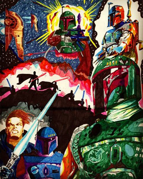 An artwork that I drew of Boba Fett (and a couple of Jedi Knights) back in early 1995.
