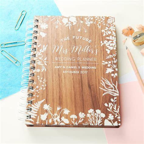 personalised walnut wedding notebook by oakdene designs