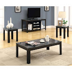 Black / Grey Marble-Look Top 3pcs Table Set - Monarch Specialties I-7843P