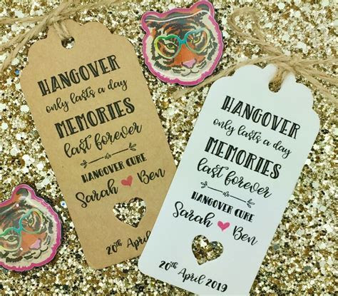 Personalised HANGOVER KIT Gift Tag Wedding ALCOHOL Favour