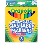 Crayola Ultra-Clean Washable Broad Line Markers, Classic Colors, 8 Ct