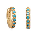 Small Hoop Earrings Blue-Green Cubic Zirconia Gold-Plated Silver 12.3mm