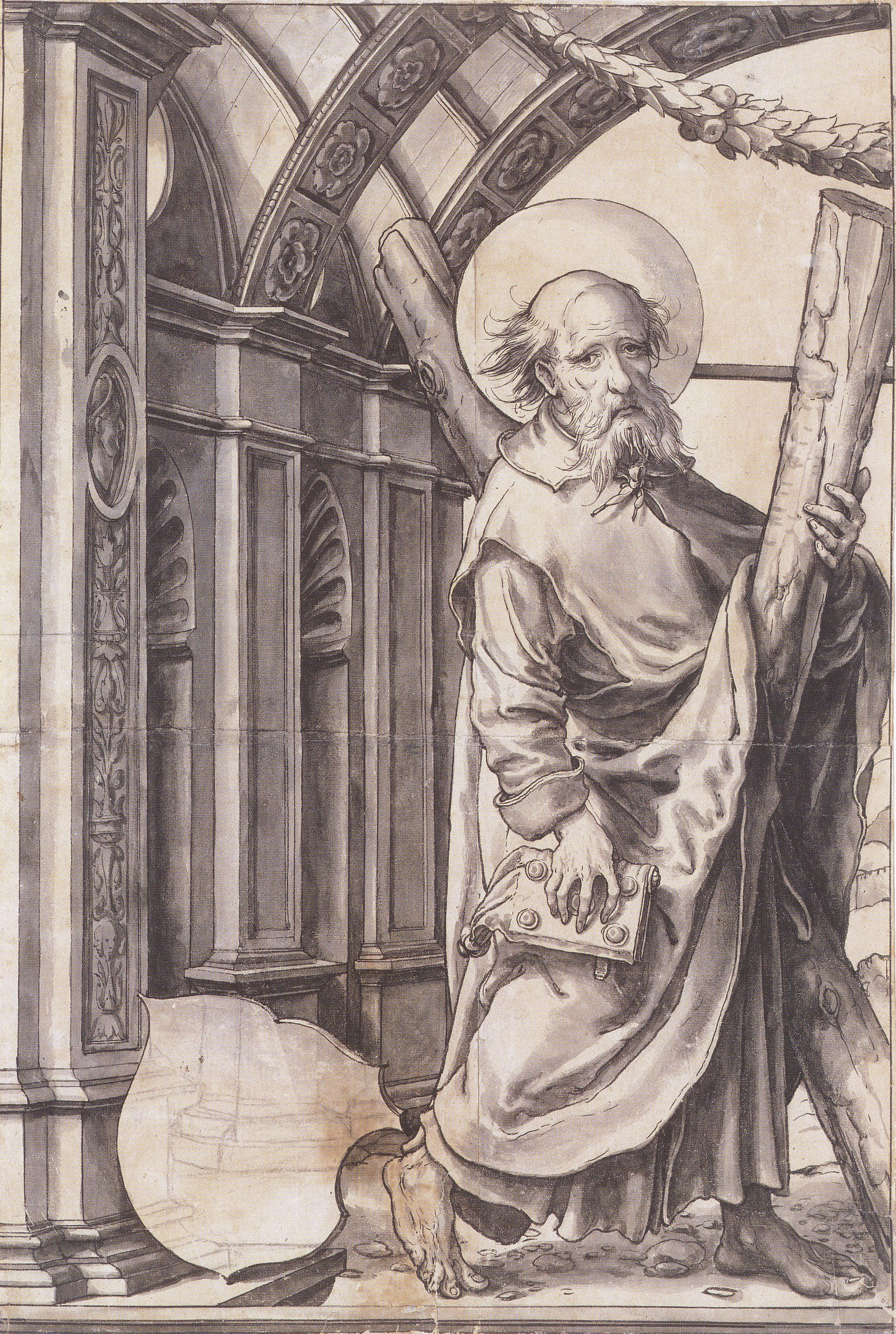http://upload.wikimedia.org/wikipedia/commons/1/1e/St_Andrew%2C_Design_for_a_Stained_Glass_Window%2C_by_Hans_Holbein_the_Younger.jpg