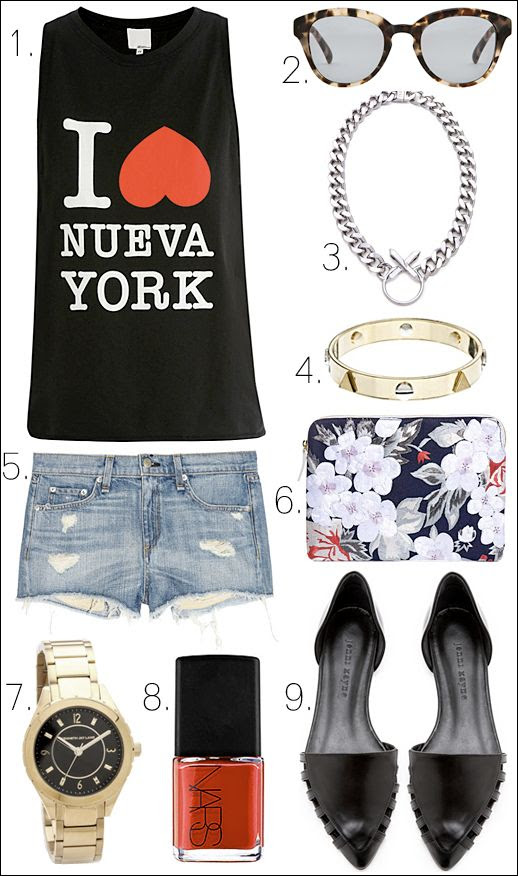 LE FASHION BLOG OUTFIT COLLAGE SPRING SUMMER INSPIRATION 31 Phillip Lim I Love Heart Nueva York MUSCLE Tank TOP 31 Phillip Lim Lou Lou Sunglasses Matte Tortoise Luv Aj Crystal Cross Necklace Lizzie Fortunato DECADE DIARY Floral Embroidered Clutch Rag Bone JEAN The Mila CUT OFF DENIM JEAN Shorts Whistles Stud Bangle BRACELET Kenneth Jay Lane Link Watch GOLD WITH BLACK FACE DIAL NARS Nail Polish in TOMATO RED Dovima Jenni Kayne BLACK Lattice d'Orsay Flats