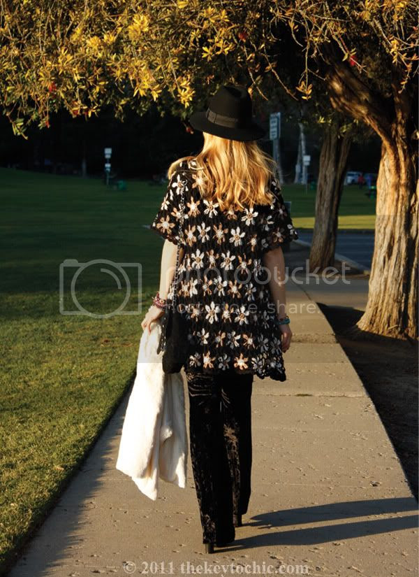 crochet cardigan, velvet bell bottoms, white faux fur jacket, southern California fashion blogger, Los Angeles fashion blog
