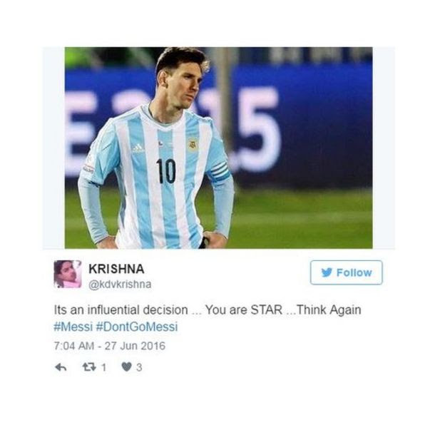 Tweet urging Messi to think again