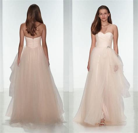 Elegant 2015 Light Pink Tulle Beach Wedding Dresses