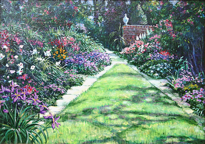 ori_333 34264 1001909 Albert Sharp painting English Garden landscape picture1
